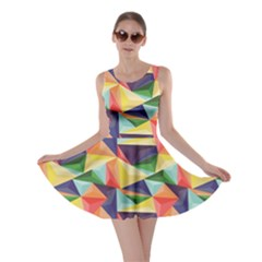 Colorful Triangle Pattern Geometric Abstract Texture Skater Dress by cowcowclothing