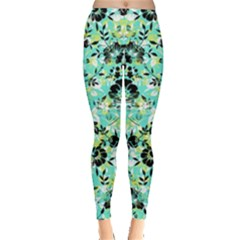 Light Green Floral Leggings  by CoolDesigns