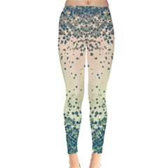 Turquoise Floral Leggings by CoolDesigns