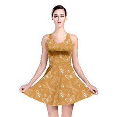 Dark Yellow Insect Pattern Reversible Skater Dress  by CoolDesigns