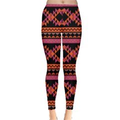 Orange & Pink Aztec Tribal Chevron Stripes Leggings by CoolDesigns