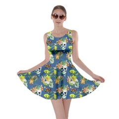 Navy Skull and Flowers Pattern Skater Dress by CoolDesigns