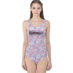 Light Blue Donut Pattern Women s One Piece Swimsuit by CoolDesigns