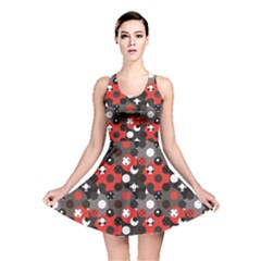 Red Pattern Retro Red Circles Polka Dot Reversible Skater Dress by CoolDesigns