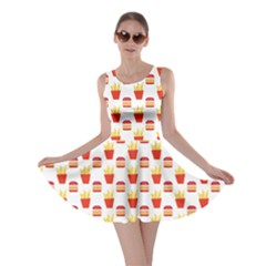 Pink Hamburger and Fries Pattern Skater Dress by CoolDesigns