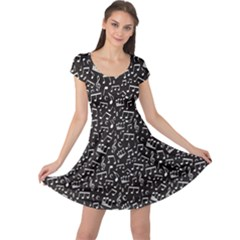 Black White Music Elements On Black Square Pattern Cap Sleeve Dress by CoolDesigns
