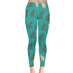 Turquoise Cat Leggings  by CoolDesigns