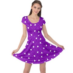 Purple Happy Valentines Pattern Cap Sleeve Dress  by CoolDesigns