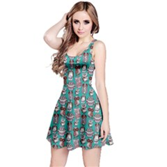 Mint Owl Pattern Sleeveless Skater Dress  by CoolDesigns