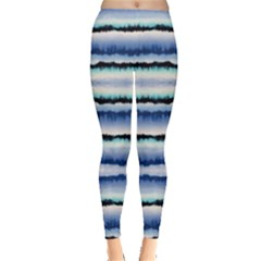 Blue & Black Strips Tie Dye Leggings by CoolDesigns