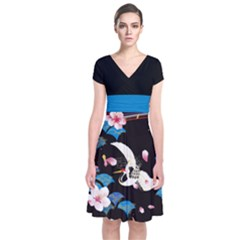 Crane Black Japanese Style Cherry Blossom Short Sleeve Front Wrap Dress by CoolDesigns