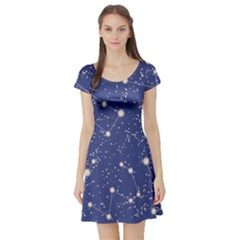 Blue Pattern with Constellations of Southern Hemisphere Short Sleeve Skater Dress by CoolDesigns