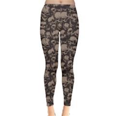 Black Grunge Pattern with Skulls Illustration Women s Leggings by cowcowclothing