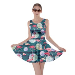 Dark Turquoise World Flamingo V2 Skater Dress by CoolDesigns