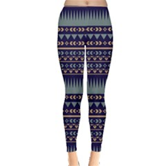 Navy2 Aztec Tribal Chevron Stripes Leggings by CoolDesigns