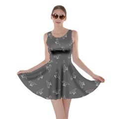 Gray Tyrannosaurus Dinosaur Doodle Pattern Skater Dress  by CoolDesigns