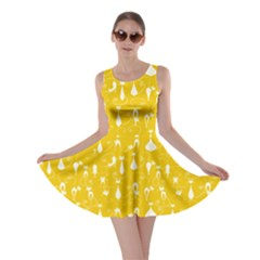 Yellow Lovely Cats Pattern Skater Dress by cowcowclothing