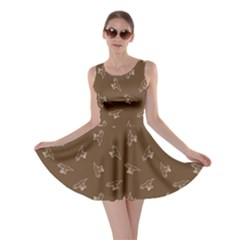 Brown Tyrannosaurus Dinosaur Doodle Pattern Skater Dress  by CoolDesigns