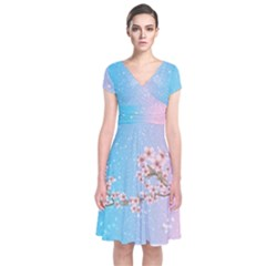 Blossom Pantone Japanese Style Cherry Blossom Short Sleeve Front Wrap Dress by CoolDesigns