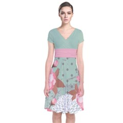 Light Green Blossom Japanese Style Cherry Blossom Short Sleeve Front Wrap Dress by CoolDesigns