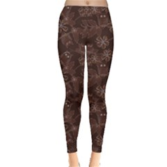 Brown Pattern Of Big Eyed Owls Family On Tree At Night Women s Leggings by CoolDesigns
