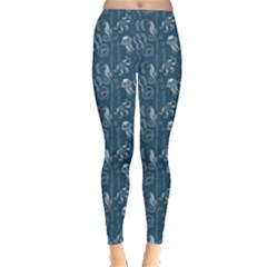 Blue Pattern Seahorses Jellyfishes Starfishes Stingrays Leggings by CoolDesigns