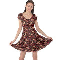 Red Pattern In The Russian Traditional Style Cap Sleeve Dress by CoolDesigns
