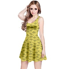 Yellow A Pattern With Dinosaur Silhouettes Sleeveless Dress by CoolDesigns