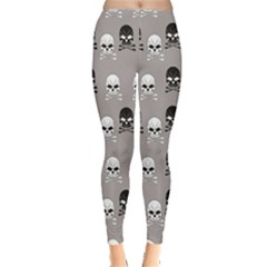 Gray Pattern Skulls Leggings by CoolDesigns