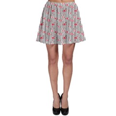 Pink Flamingo Bird Retro Pattern In Skater Skirt by CoolDesigns
