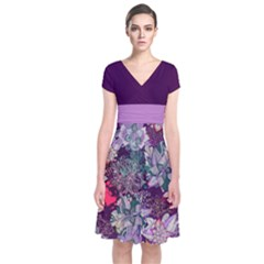 Purple Floral 2 Short Sleeve Front Wrap Dress by CoolDesigns
