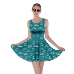 Turquoise Kitten Lovely Cats Pattern Skater Dress by CoolDesigns
