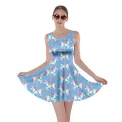 Light Blue Carousel Horses Pattern Skater Dress  by CoolDesigns