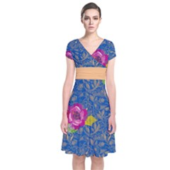Blue Paisley Short Sleeve Front Wrap Dress by CoolDesigns