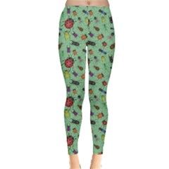 Green Color Bugs And Beetles Green Pattern Leggings by CoolDesigns