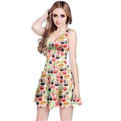 Colorful Tone Sushi Set Meal Pattern Sleeveless Dress by CoolDesigns
