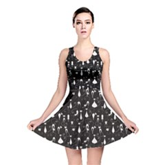 Black White Cats On Black Pattern For Your Design Reversible Skater Dress by CoolDesigns