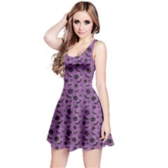 Purple Halloween Pumpkins Bats And Spiders Grungy Sleeveless Skater Dress by CoolDesigns