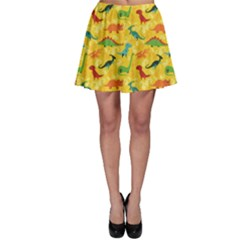 Yellow Cartoon Dinosaur Pattern Skater Dress by CoolDesigns