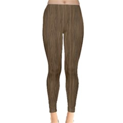 Brown Abstract Flat Wooden Texture Wooden Pattern Leggings by CoolDesigns