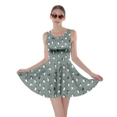 Blue Pattern With Little Cute Penguins On Blue Skater Dress by CoolDesigns