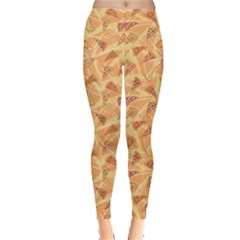 Orange Pattern Pizza Clip Art Leggings by CoolDesigns