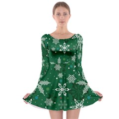 Green Snowy Long Sleeve Skater Dress by CoolDesigns