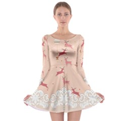 Xmas Pink Lace Long Sleeve Skater Dress by CoolDesigns