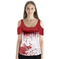 Bloody Halloween V2 Butterfly Sleeve Cutout Tee by CoolDesigns