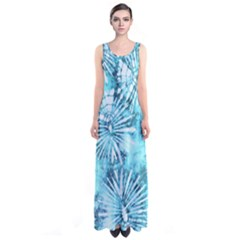 Aqua Tie Dye Sleeveless Maxi Dress by CoolDesigns