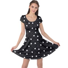 Black Happy Valentines Pattern Cap Sleeve Dress  by CoolDesigns