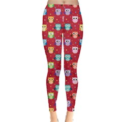 Red Tone Colorful Owls Pattern Leggings  by CoolDesigns
