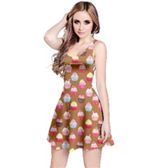 Brown Watercolor Cupcakes Pattern Sleeveless Skater Dress by CoolDesigns