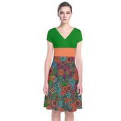 Green & Orange Floral Short Sleeve Front Wrap Dress by CoolDesigns